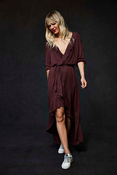Sloan Dress In Burgundy - Final Sale