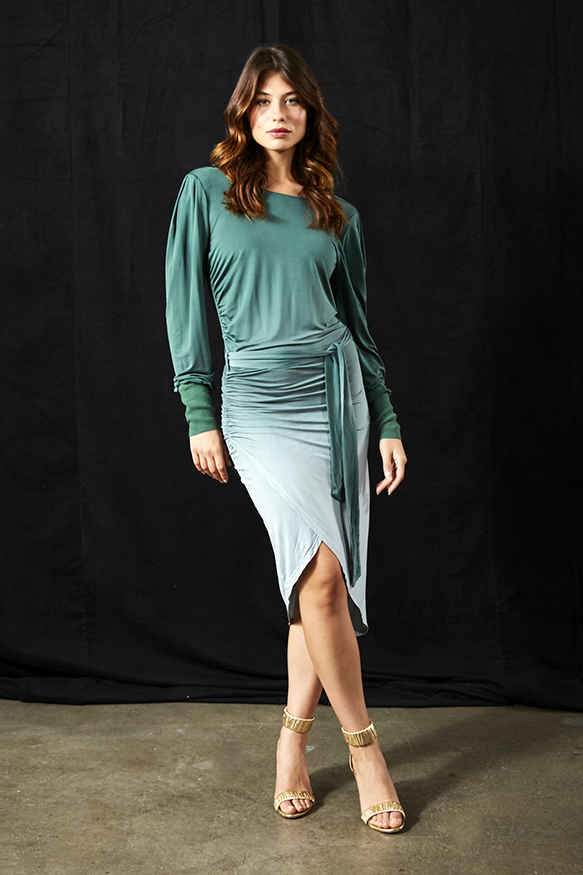 Keylen Dress In Emerald Ombre