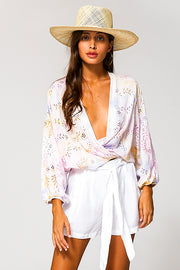 Lacey Wrap Top In Violet Burst Wash
