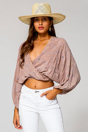 Lacey Wrap Top In Dusty Mauve Potassium