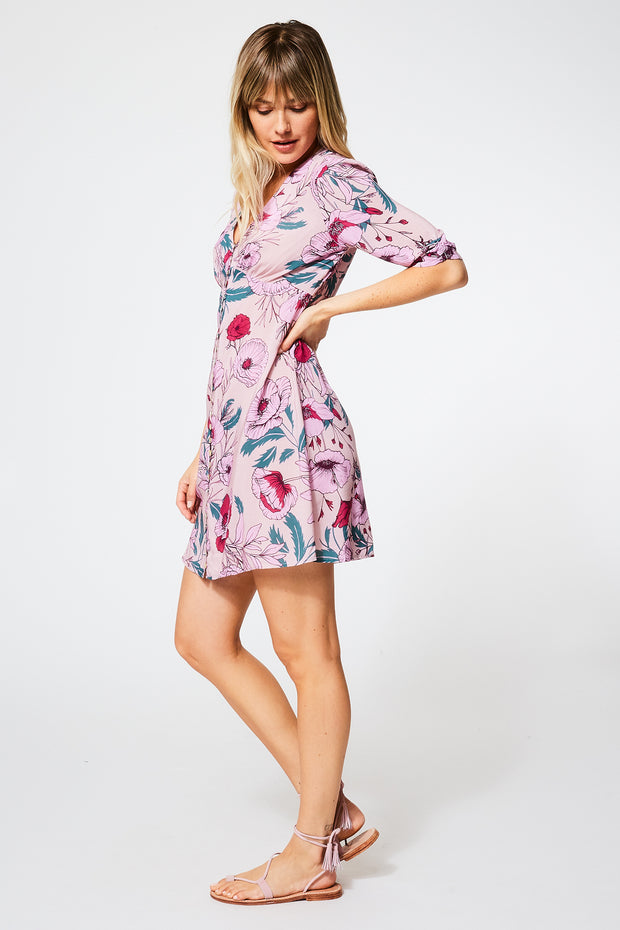 Farley Dress in Pansy Garden Floral