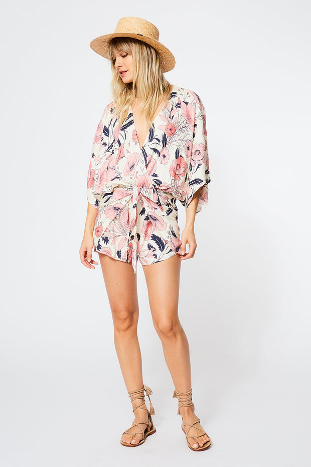Edyth Romper in Ivory Shell Garden Floral