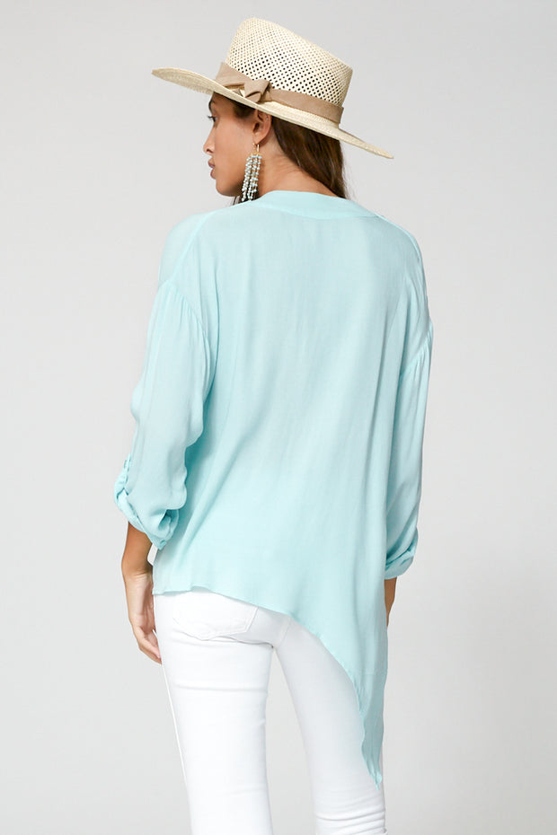 Corinne Blouse In Aqua
