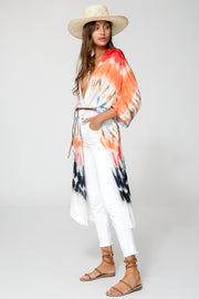 Kana Kimono In Red Rainbow Wash