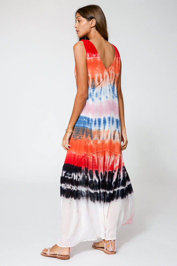 Raquel Dress In Red Rainbow Wash
