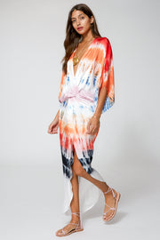 Siren Maxi In Red Rainbow Wash
