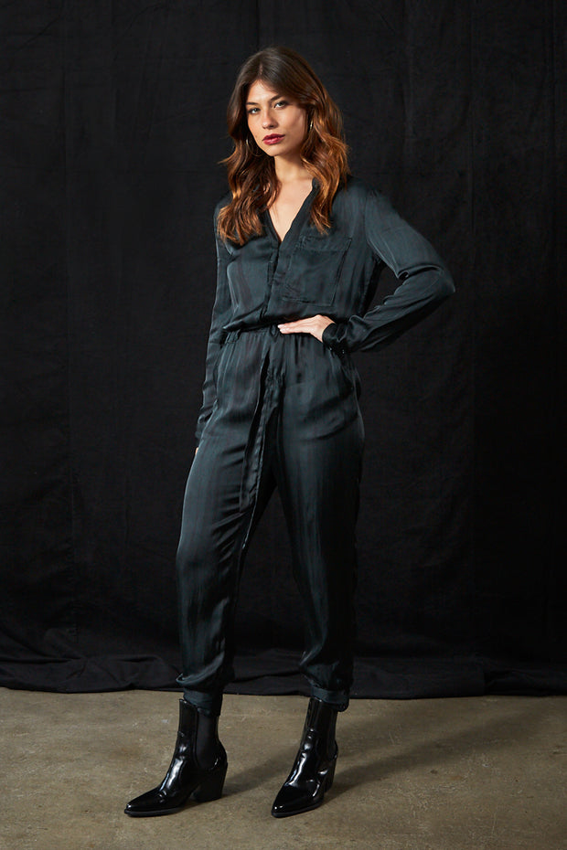 Stacey Jumpsuit in Emerald Ice Wash