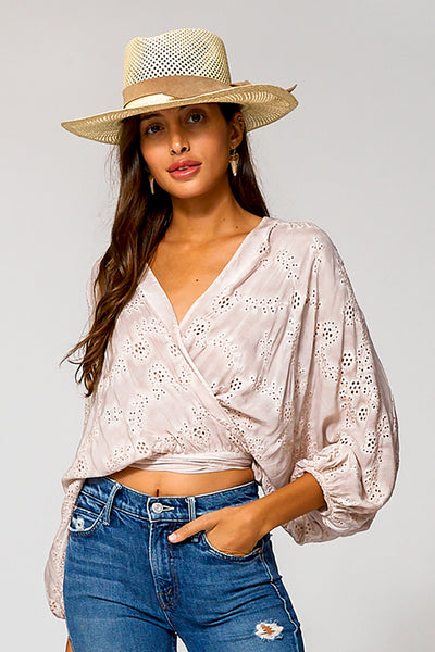 Lacey Wrap Top In Sea Salt Oil Wash