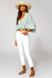 Lacey Wrap Top In Water Potassium Wash