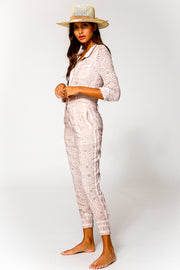 Levi Eyelet Jumpsuit In Sea Salt Oil Wash