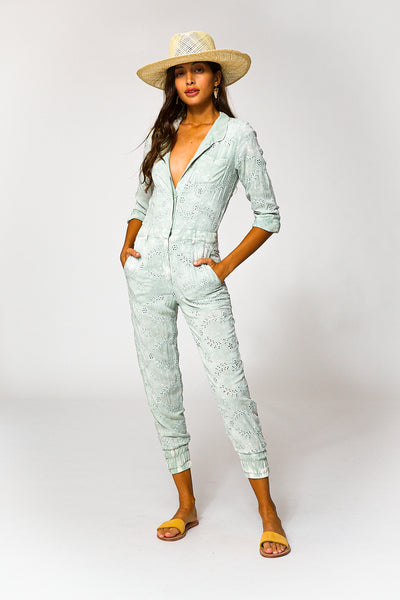 Levi Eyelet Jumpsuit In Water