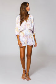 Kyra Romper In Violet Burst Wash