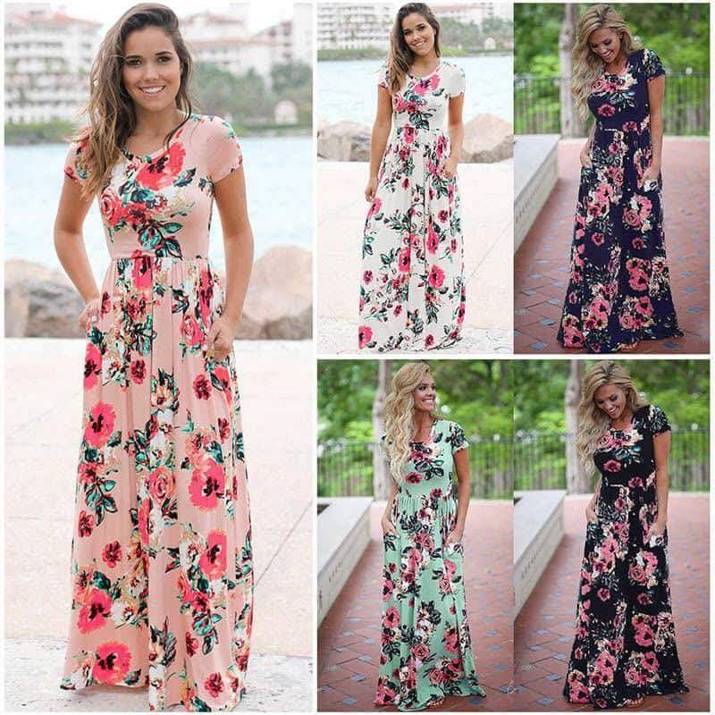 Isabella - Short Sleeve Maxi Dress