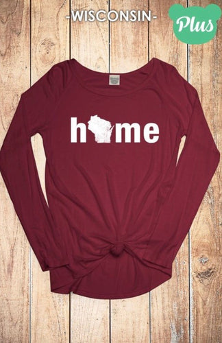 Wisconsin Solid Maroon Home Top - Plus