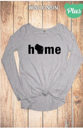 Wisconsin Solid Grey Home Top - Plus