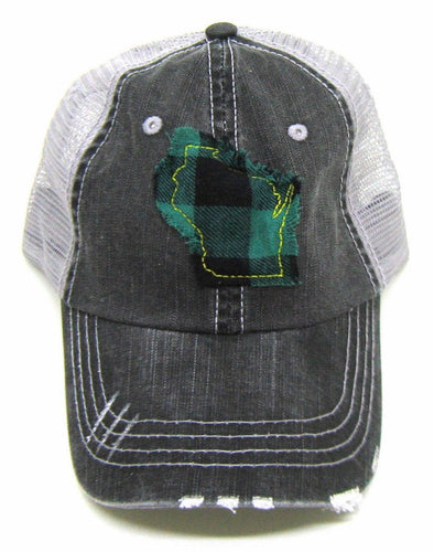 Wisconsin Distressed Hat - Green&Yellow Plaid