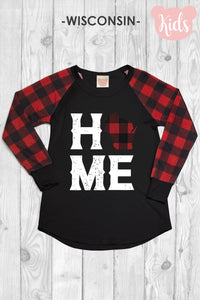 Youth Wisconsin Home Buffalo Plaid Top