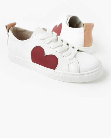 Heart Leather Sneaker | Plum