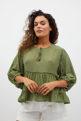 Ellis Smock Balloon Top | Khaki