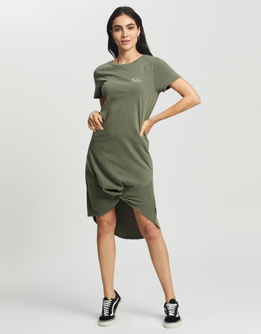 Present Twisted Tee Dress | Military