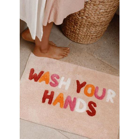 Wash Your Hands Bath Mat  | Peach Multi