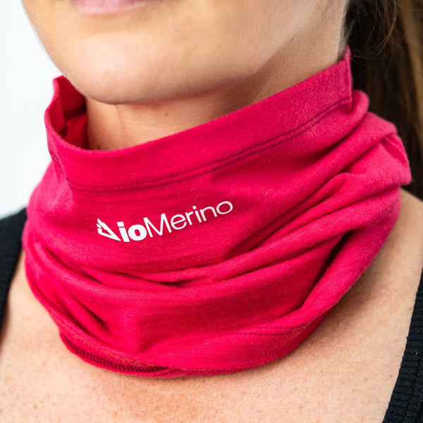 Woman wearing pink Neck Warmer around neck