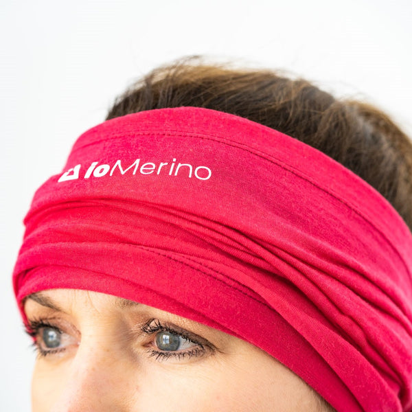 Woman wearing pink Neck Warmer as a headband