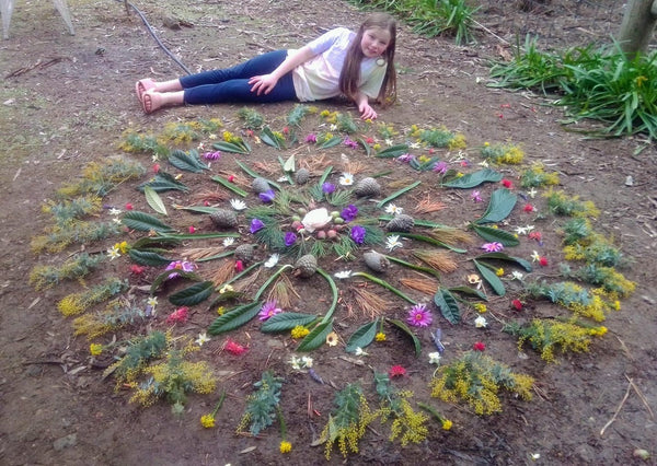 Nature wheel and young girl
