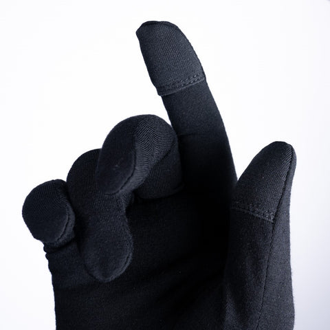 Touchpads on forefinger and thumb so that a mobile phone is still easy to use