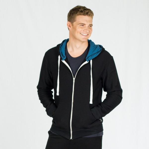 Men's merino wool zip up hoodie