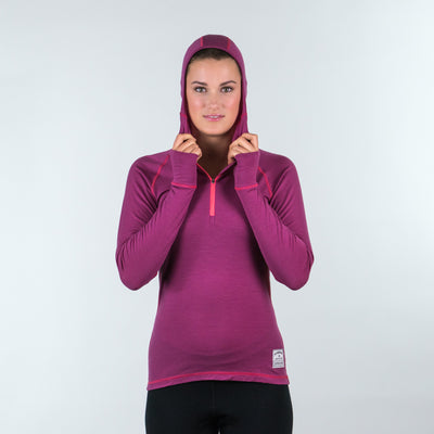 Women's Altitude Merino Wool Hooded Zip Base Layer Thermal | ioMerino