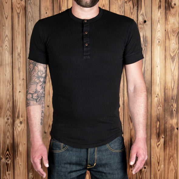 1927 Henley Shirt short sleeve Faded Black - Pike Brothers