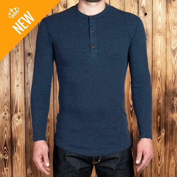 1923 Henley Shirt long sleeve Indigo Blue - Pike Brothers
