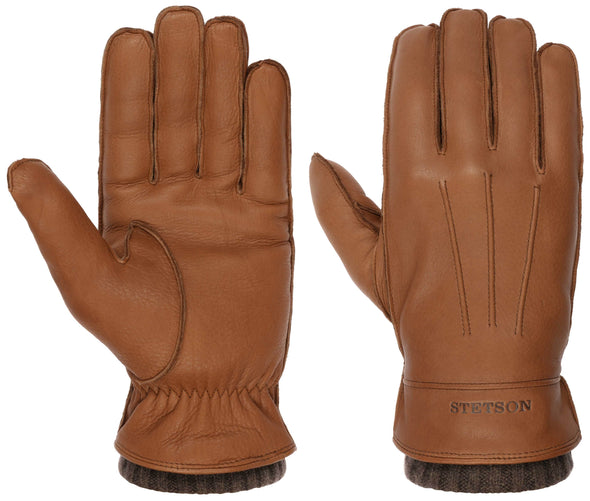 Deerskin Cashmere Leather Gloves, Light Brown - Stetson