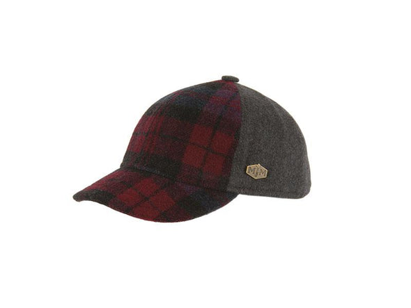 Baseball Cap in Wool w Check Pattern - MJM