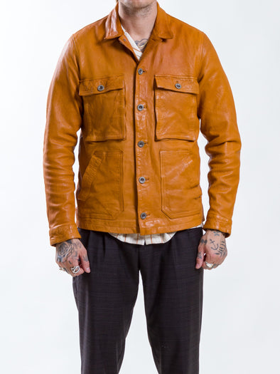 Uncle Bright - Jean Mustard Leather Jacket -