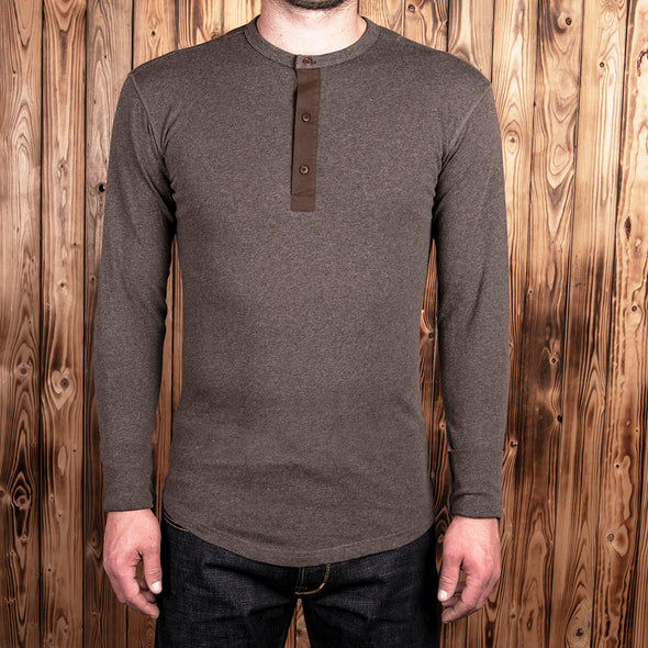 927 Henley Shirt long sleeve Brown Melange - Pike Brothers