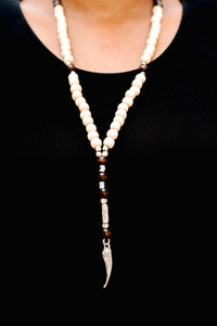 Silver Horn Bead Necklace