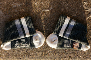 Socks  - Woolie - Sage and Talc Stripe