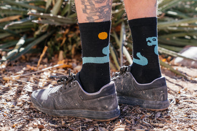 Socks - Snake - Obsidian and Turquoise Wool