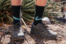 Load image into Gallery viewer, Socks - Snake - Obsidian and Turquoise Wool