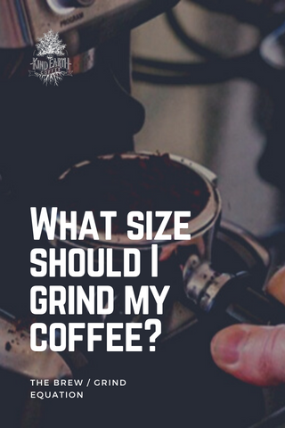 Coffee grinds in portafilter with text what size should I grind my coffee?