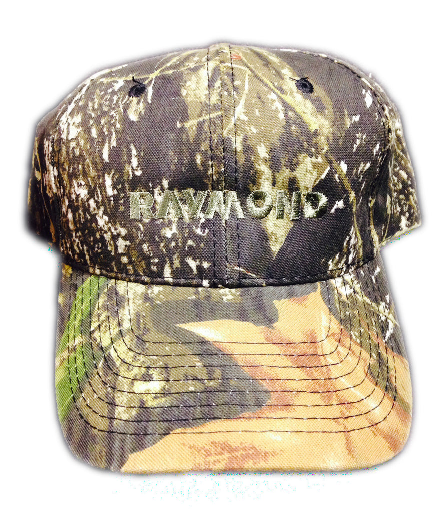 Raymond Camo Hat Front View with Logo