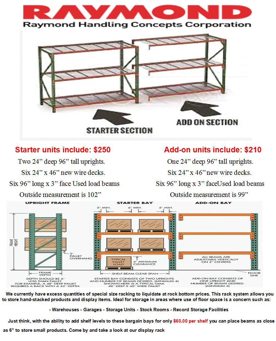 Pallet Rack Starter Kit and Add-On Unit 24