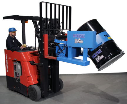 This attachment allows you to lift and pour a drum.  Battery powered tilt is controlled with two-button pendant that reaches back to forklift operator.