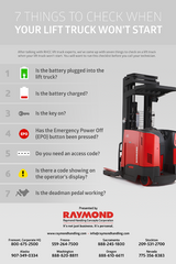 Poster: 7 Things to check when your lift truck won't start | Raymond Handling Concepts