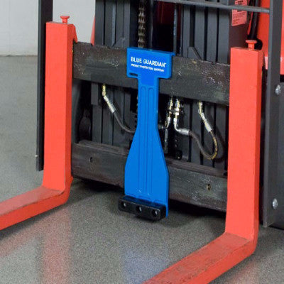 Blue Guardian Pallet Protector on Forklift Carriage