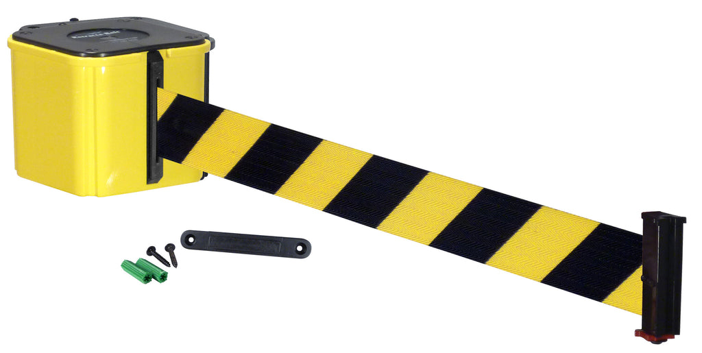 Wall Mount Retracta-Belt Yellow and Black Diagonal Color