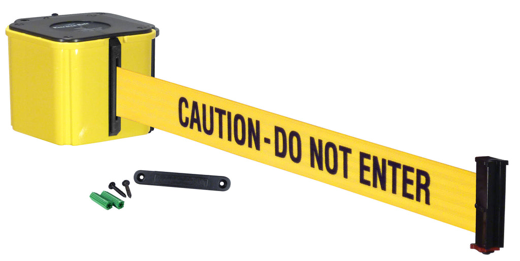Caution- do not enter belt on removable wall mount retractable