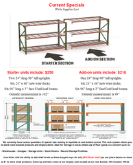 "24"" x 8' x 8' Pallet Rack Starter Kit and Add-On Unit"